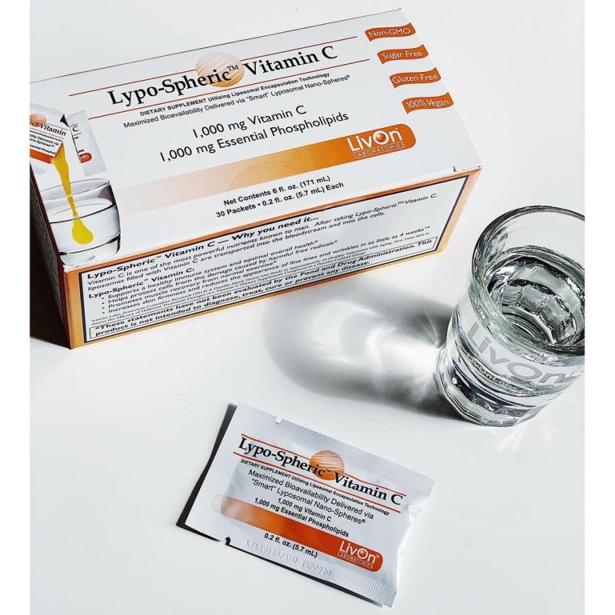 Vitamin C Tăng Cường Sức Đề Kháng, Giúp Da Sáng Mịn, Giảm Nếp Nhăn Lypo-Spheric Vitamin C Livon