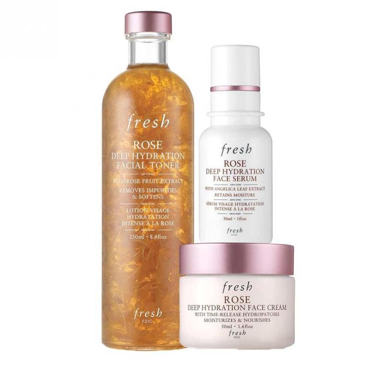 Set Nước Hoa Hồng Và Kem Dưỡng Fresh Rose Hydration Skincare Essentials